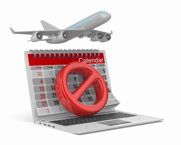 Segnale di stop, aereo e calendario su bianco