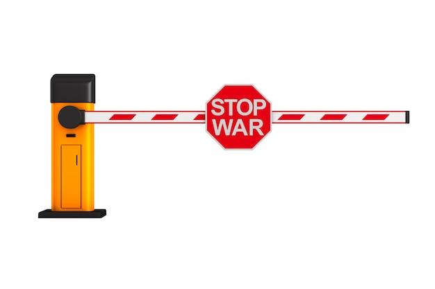 Segno di arresto della guerra su sfondo bianco. illustrazione 3d isolata