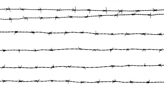Silhouette di un filo spinato isolato su sfondo bianco