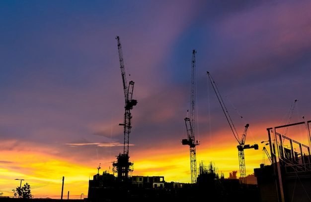 Silhouette barra di costruzione di edifici in cantiere e concetto industriale
