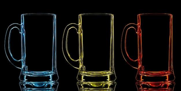 Sagoma di bicchiere di birra di colore su sfondo nero