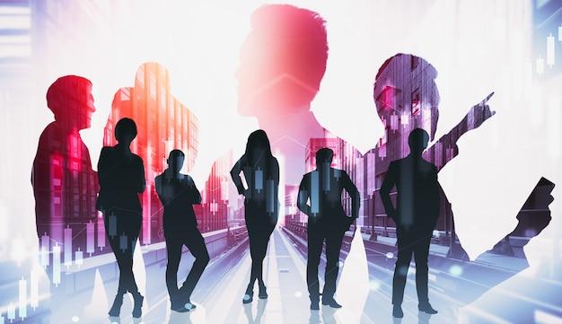 Immagine della sagoma del gruppo di persone di affari sullo sfondo della città