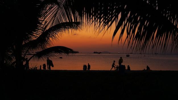 Silhouette di persone sulla spiaggia tropicale al tramonto - turisti che si godono il tempo durante le vacanze estive - concetto di viaggio, vacanze e paesaggio - focus sulla palma