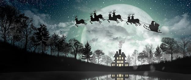 La silhouette di babbo natale si muove per cavalcare le loro renne durante la luna piena di notte natale