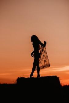 Siluetta di una ragazza sexy in un vestito trasparente in estate al tramonto in un campo su un pagliaio in natura.