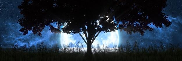 Silhouette di un albero sullo sfondo della luna riflessa nell'oceano, 3d'illustrazione