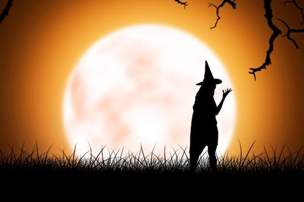 Silhouette di donna strega con un cappello in piedi con sfondo di luna piena
