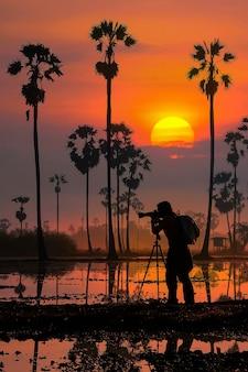 Silhouette di una fotografa donna in un giardino di palme all'alba