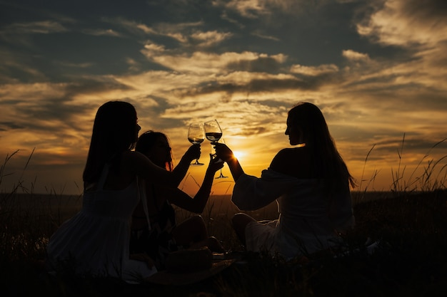 Silhouette di giovani donne che tostano un bicchiere di vino e celebrano la bella vita.