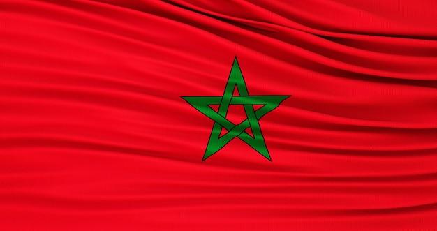 Bandiera di seta del marocco. bandiera in tessuto del marocco. rendering 3d