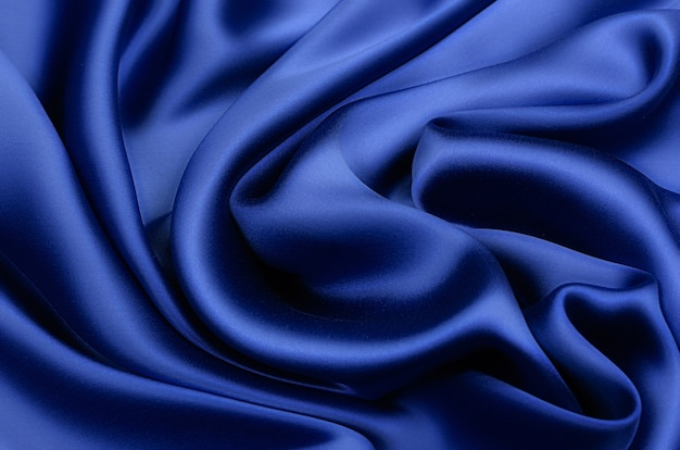 Seta, tessuto di raso in blu
