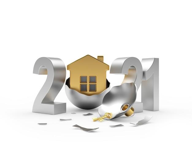 Argento 2021 e casa in una palla di natale rotta