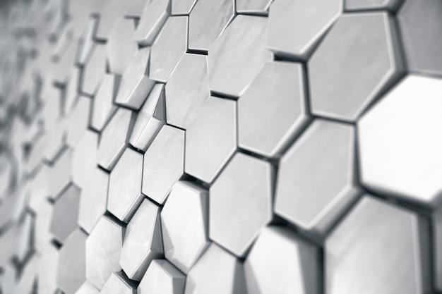 Priorità bassa esagonale astratta d'argento con effetto di profondità di campo. struttura di un gran numero di esagoni. struttura d'acciaio della parete del favo, fondo brillante dei mazzi di esagono, rappresentazione 3d