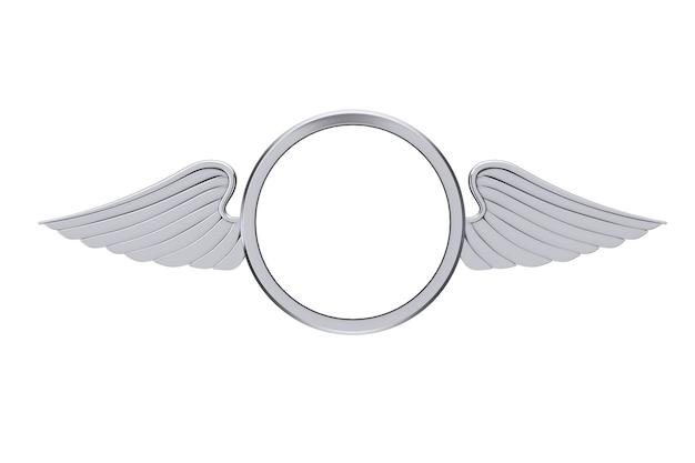 Badge d'argento con ali e spazio libero per il tuo design su sfondo bianco. rendering 3d