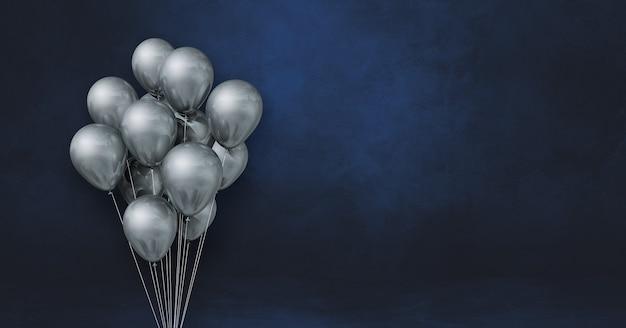 Mazzo di palloncini d'argento su uno sfondo di muro nero. banner orizzontale. rendering di illustrazione 3d