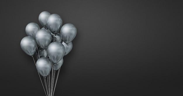 Mazzo di palloncini d'argento su uno sfondo di parete nera. bandiera orizzontale. rendering di illustrazione 3d