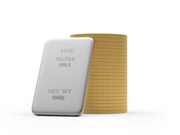 Barre d'argento e una pila di monete