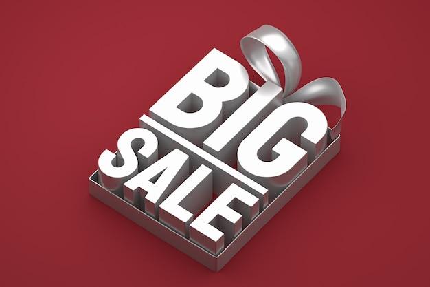 Argento grande vendita 3d design rendering per promozione vendita con fiocco e nastro rosso su sfondo isolato