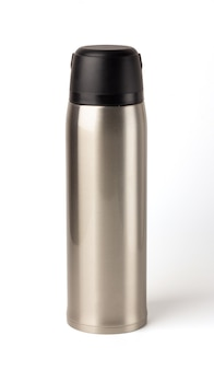 Boccetta termo bicchiere vuota in metallo lucido argento isolato, bottiglia di acqua calda, dispositivo portatile.