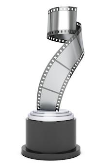 Premio silver film strip su sfondo bianco. rendering 3d