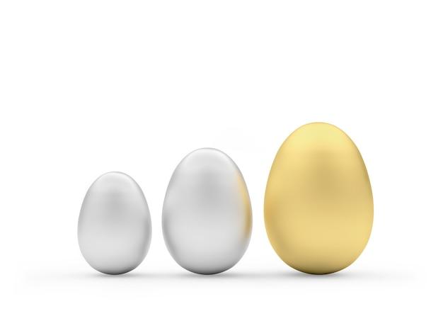 Uova d'argento e d'oro di varie dimensioni