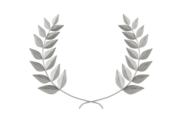 Premio d'argento del vincitore della corona di alloro su sfondo bianco. rendering 3d