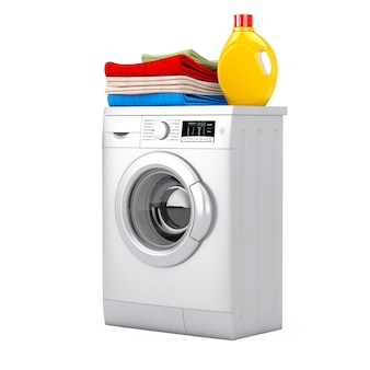 Argento moderna lavatrice con bottiglia di detersivo e mucchio di vestiti su sfondo bianco. rendering 3d