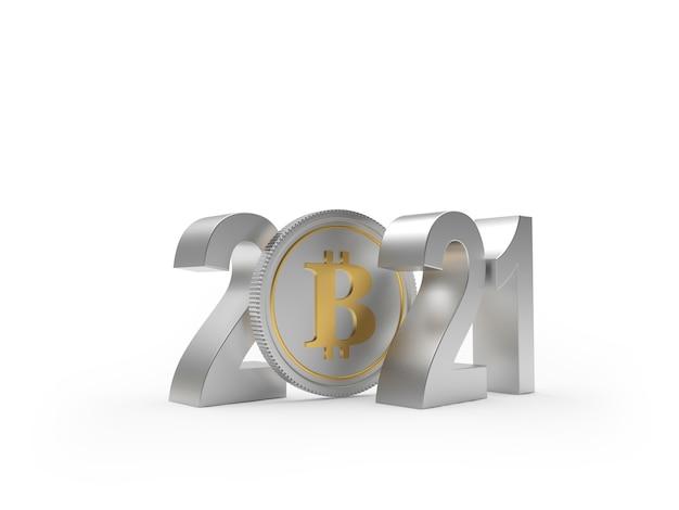 Numeri d'argento 2021 con moneta bitcoin