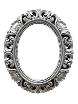 Cornice d'epoca ovale d'argento isolata su sfondo bianco