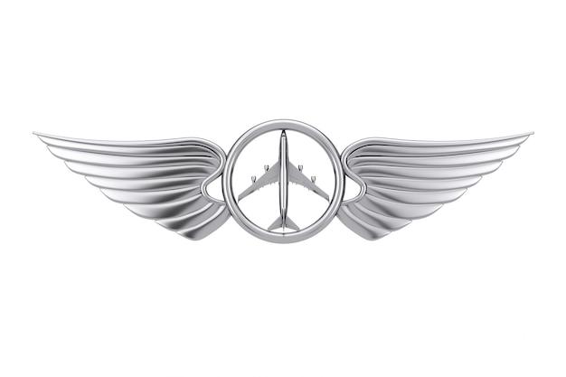 Emblema dell'ala pilota d'argento, distintivo o simbolo del logo su sfondo bianco. rendering 3d