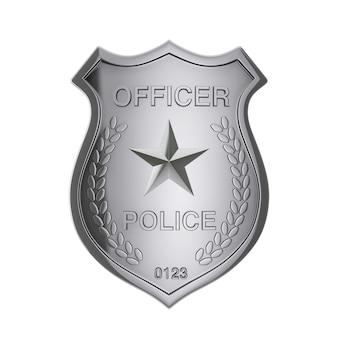 Distintivo d'argento dell'ufficiale di polizia su un fondo bianco. rendering 3d