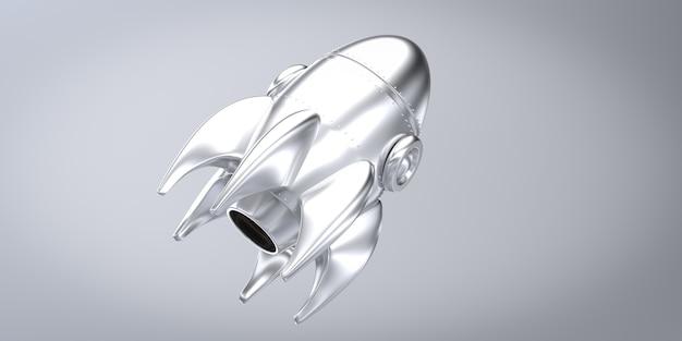 Silver rocket 3d rendering sfondo