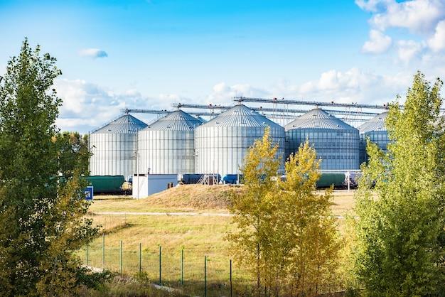 Silos d'argento su impianto di produzione agricola per la lavorazione, essiccazione, pulizia e stoccaggio di prodotti agricoli