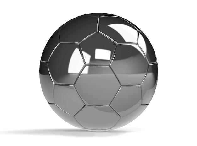 Pallone da calcio d'argento isolato su priorità bassa bianca con il percorso di residuo della potatura meccanica. gioca a calcio