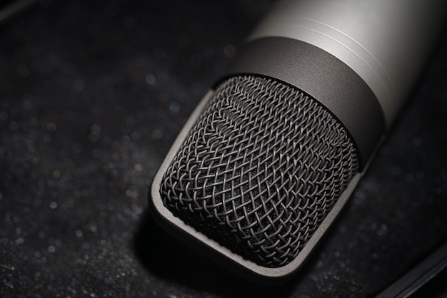 Microfono a condensatore da studio d'argento su morbida schiuma nera di custodia protettiva