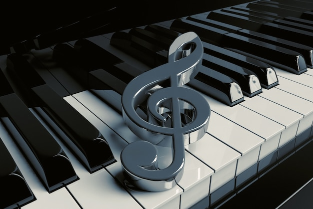La chiave di violino d'argento è sui tasti del pianoforte del primo piano estremo