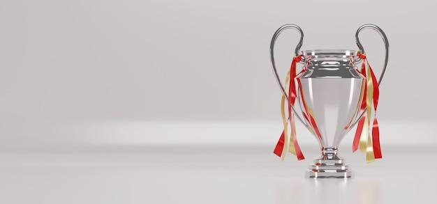 Coppa trofeo d'argento su sfondo bianco.