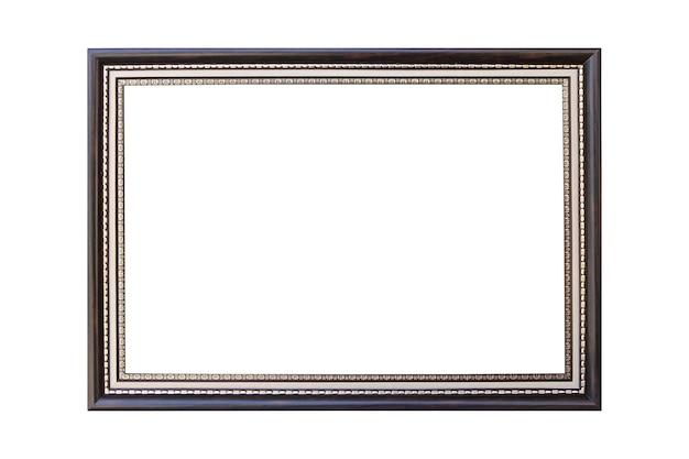 Cornice per foto d'epoca antica in argento e legno su sfondo bianco isolato.