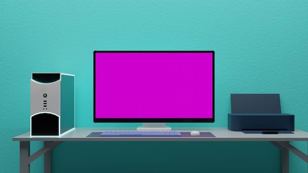 Semplice configurazione dell'area di lavoro del computer rosa rendering 3d dello schermo