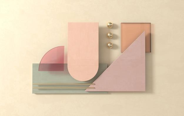 Semplici forme geometriche, scena piatta 3d rendono il fondo astratto di affari. colori pastello