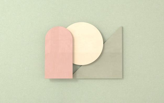 La scena piatta 3d di forme geometriche semplici rende il fondo astratto di affari
