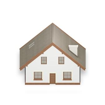 Casa semplice isolata su bianco,