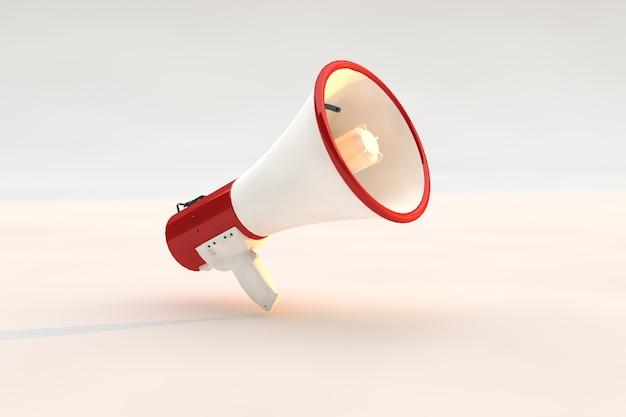 Megafono semplice isolato su priorità bassa bianca.