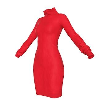 Maglione rosso semplice della maglieria della donna di comodità su un fondo bianco. rendering 3d
