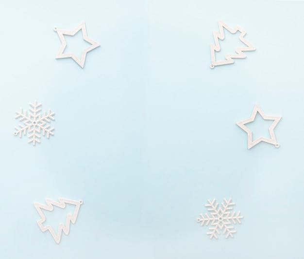 Semplicemente layout di natale, vista dall'alto della cartolina d'auguri di inverno