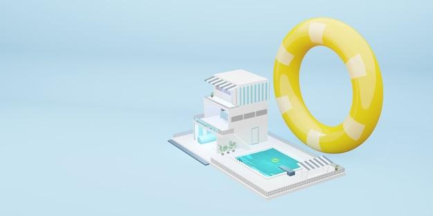 Piscina simulata edificio a tre piani modello cartone animato blu pastello 3d illustrazione