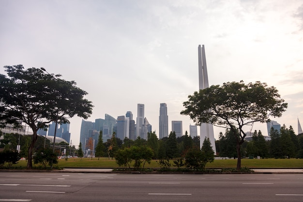 Splendida vista sullo skyline della città di singapore