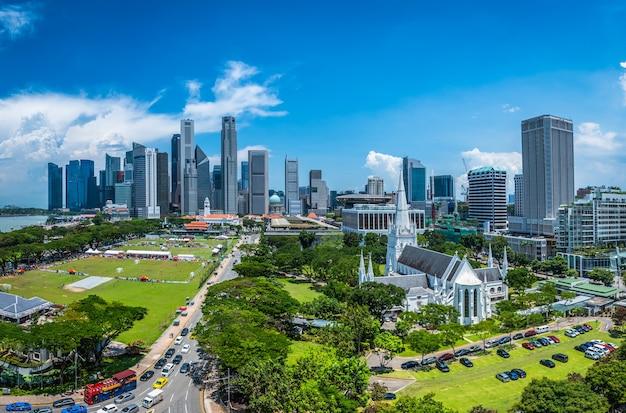 Orizzonte della città di singapore del distretto aziendale del centro di giorno.