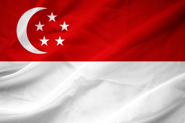 Modello di bandiera di singapore sulla trama del tessuto, stile vintage