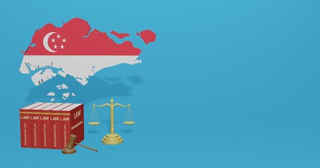 Legge di singapore per le infografiche, i contenuti dei social media nel rendering 3d